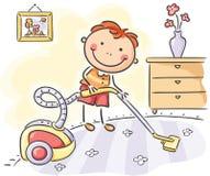 Menino que ajuda seus pais com os trabalhos domésticos ilustração do vetor