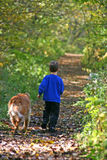 Menino que anda com cão Imagens de Stock