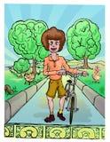 Menino que anda no parque com bicicleta Fotografia de Stock Royalty Free