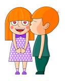 Menino que beija a menina Ilustração do vetor do Valentim ilustração stock