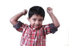 Menino que cheering acima Fotografia de Stock