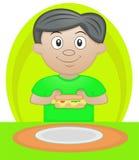 Menino que come o pequeno almoço ilustração do vetor