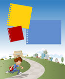 Menino que corre tarde para a escola. Imagem de Stock Royalty Free