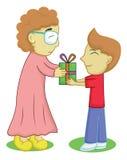 Menino que dá um presente para a avó ilustração do vetor