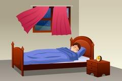 Menino que dorme em seu quarto Imagem de Stock