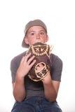 Menino que esconde atrás da luva de beisebol Imagens de Stock Royalty Free