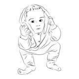 Menino que escuta a música em auscultadores Fotos de Stock
