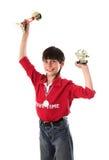 Menino que ganha na competição Imagens de Stock