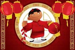 Menino que guarda a lanterna que comemora o ano novo chinês Fotografia de Stock Royalty Free