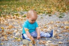 Menino que joga com as folhas no outono Fotos de Stock Royalty Free