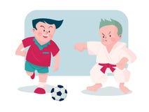 Menino que joga a ilustração do vetor do futebol e do karaté Imagens de Stock Royalty Free