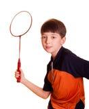 Menino que joga o badminton Fotografia de Stock Royalty Free
