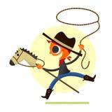 Menino que joga o cowboy Fotos de Stock Royalty Free