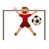 Menino que joga o futebol ilustração royalty free