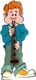 Menino que joga o saxofone Imagens de Stock
