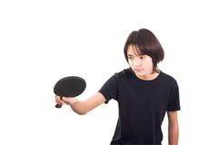 Menino que joga o tênis de tabela Foto de Stock Royalty Free