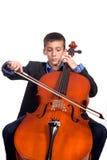 Menino que joga o violoncelo Fotografia de Stock