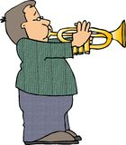 Menino que joga uma trombeta ilustração do vetor