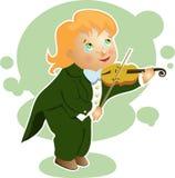 Menino que joga uns desenhos animados pequenos do violino Fotografia de Stock Royalty Free
