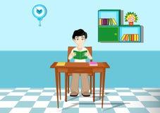 Menino que lê um livro ilustração stock
