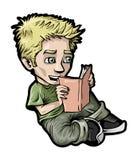 Menino que lê um livro ilustração royalty free
