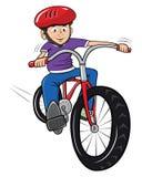 Menino que monta sua bicicleta ilustração do vetor
