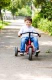 Menino que monta uma bicicleta no parque Imagens de Stock Royalty Free