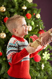 Menino que prende atual na frente da árvore de Natal Foto de Stock Royalty Free