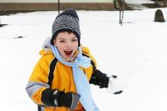 Menino que ri e que tem o divertimento em uma luta da bola de neve fotografia de stock