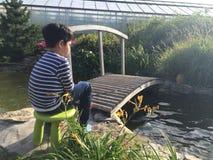 Menino que senta-se perto de uma lagoa com uma vara de pesca Fotografia de Stock Royalty Free