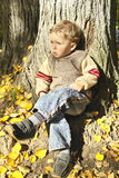 Menino que senta-se sob a árvore imagens de stock