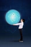 Menino que traz o globo 3d Fotografia de Stock
