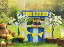 Menino que vende a limonada amarela no suporte Foto de Stock