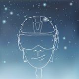 Menino que veste uns auriculares da realidade virtual Fotografia de Stock Royalty Free