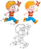 Menino Running com um brinquedo ilustração stock
