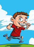 Menino running dos desenhos animados ilustração royalty free