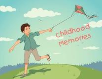 Menino running feliz com um papagaio. Memórias da infância Fotos de Stock