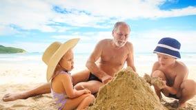 Menino Sit Spread Sand Heap da menina do vovô na praia pela ressaca vídeos de arquivo
