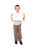 Menino sorrido com folha vazia Fotos de Stock