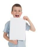 Menino sorrido com folha vazia Imagem de Stock