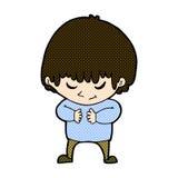 menino tímido dos desenhos animados cômicos Foto de Stock