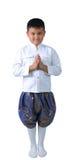 Menino tailandês no isolado bem-vindo Fotografia de Stock Royalty Free
