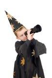 Menino vestido como o astrólogo. Isolado imagem de stock royalty free