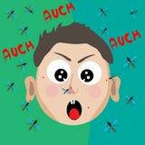 Menino virado mordido por mosquitos ilustração stock