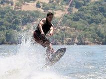 Menino Wakeboarding fotos de stock royalty free