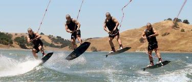 Menino Wakeboarding imagem de stock royalty free