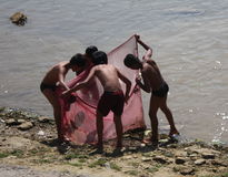 Meninos asiáticos que olham o interior uma rede de pesca Foto de Stock