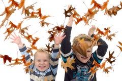 Meninos com folhas de outono fotografia de stock royalty free