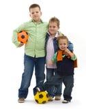 Meninos com futebol Fotografia de Stock Royalty Free