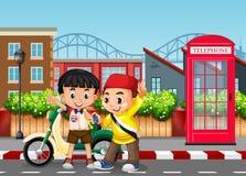 Meninos da amizade na estrada ilustração royalty free